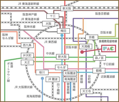 大阪市内の主要路線図